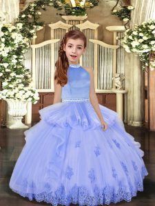 Unique Lavender and Pink And Yellow Ball Gowns Halter Top Sleeveless Tulle Floor Length Backless Beading and Appliques Child Pageant Dress