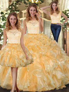 Inexpensive Sleeveless Clasp Handle Floor Length Lace and Ruffles Sweet 16 Dress