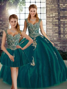 Fantastic Peacock Green Tulle Lace Up Straps Sleeveless Floor Length Ball Gown Prom Dress Beading and Appliques