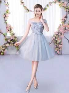 Best Selling Tulle Sleeveless Knee Length Quinceanera Court Dresses and Lace and Belt