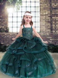 Nice Ball Gowns Girls Pageant Dresses Peacock Green Straps Tulle Sleeveless Floor Length Lace Up