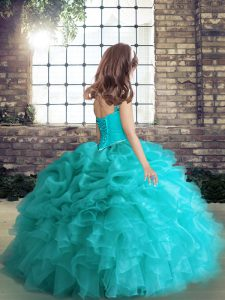 Charming Coral Red Lace Up Straps Beading and Ruffles and Pick Ups Winning Pageant Gowns Organza Sleeveless