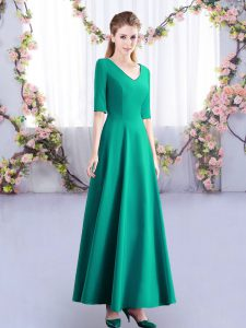 Free and Easy Turquoise Empire V-neck Half Sleeves Satin Ankle Length Zipper Ruching Damas Dress