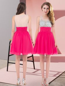 High End Chiffon Scoop Sleeveless Side Zipper Beading Dama Dress in Hot Pink