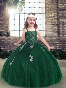 Latest Floor Length Lace Up Pageant Dress Wholesale Dark Green for Party and Military Ball and Wedding Party with Appliques