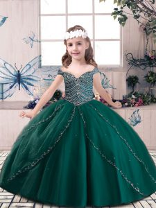 Dark Green Tulle Lace Up Pageant Gowns For Girls Sleeveless Floor Length Beading