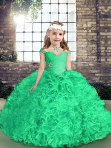Floor Length Side Zipper Pageant Gowns For Girls Green for Party and Wedding Party with Beading and Ruffles