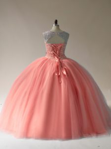 Customized Tulle Scoop Sleeveless Lace Up Beading Quince Ball Gowns in Peach
