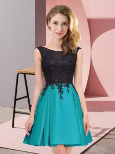 Scoop Sleeveless Quinceanera Dama Dress Mini Length Lace Teal Satin