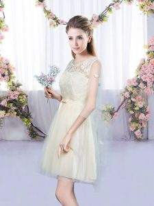 Champagne Sleeveless Mini Length Lace and Bowknot Lace Up Vestidos de Damas