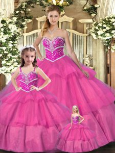 Sleeveless Floor Length Beading Lace Up Ball Gown Prom Dress with Hot Pink