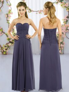 Adorable Navy Blue Sweetheart Lace Up Ruching Quinceanera Court of Honor Dress Sleeveless