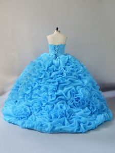Lace Up Quinceanera Gowns Baby Blue for Sweet 16 and Quinceanera with Beading and Pick Ups and Hand Made Flower Court Train