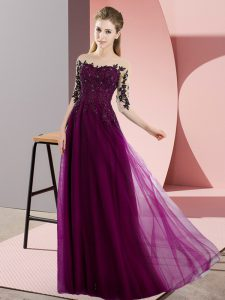 Beading and Lace Quinceanera Court Dresses Fuchsia Lace Up Half Sleeves Floor Length