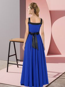 Chiffon Zipper Square Sleeveless Floor Length Vestidos de Damas Belt