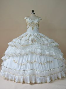 Floor Length White Quince Ball Gowns Taffeta Sleeveless Beading and Embroidery