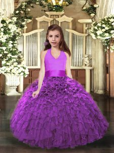 Eggplant Purple and Purple Halter Top Neckline Ruffles Child Pageant Dress Sleeveless Lace Up