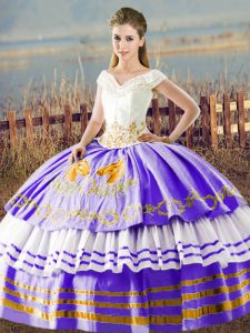White And Purple Ball Gowns V-neck Sleeveless Satin Floor Length Lace Up Embroidery and Ruffled Layers Quinceanera Dresses