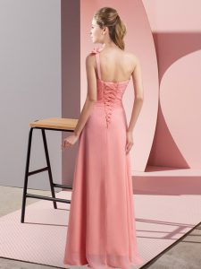 Enchanting One Shoulder Sleeveless Quinceanera Court Dresses Floor Length Hand Made Flower Rose Pink Chiffon