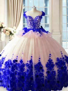 Blue And White Quinceanera Gown Satin and Organza Brush Train Sleeveless Hand Made Flower