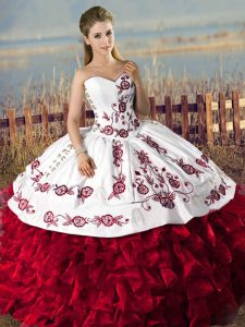 Flare Red Ball Gowns Embroidery and Ruffles 15 Quinceanera Dress Lace Up Organza Sleeveless Floor Length