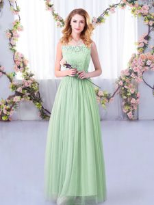 Flare Apple Green Tulle Side Zipper Scoop Sleeveless Floor Length Dama Dress Lace and Belt