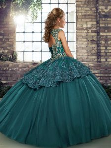 Dramatic Brown Lace Up Straps Beading and Appliques Quinceanera Gowns Tulle Sleeveless