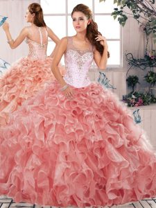 Decent Sleeveless Beading and Ruffles Clasp Handle Ball Gown Prom Dress