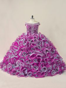 Lace Up Sweet 16 Dresses Multi-color for Sweet 16 and Quinceanera with Beading and Ruffles Brush Train