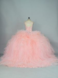 Popular Peach Ball Gowns Tulle V-neck Sleeveless Ruffles Lace Up Sweet 16 Dresses