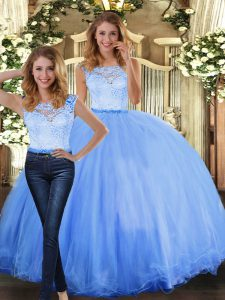 Chic Blue Scoop Clasp Handle Lace 15th Birthday Dress Sleeveless