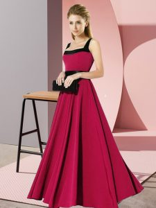 Floor Length Zipper Vestidos de Damas Fuchsia for Wedding Party with Belt