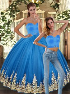 Flirting Baby Blue Sleeveless Tulle Lace Up Quinceanera Gown for Sweet 16 and Quinceanera