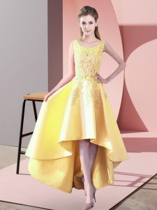 Dazzling High Low Zipper Damas Dress Yellow for Wedding Party with Lace