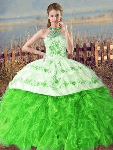 Great Halter Top Sleeveless Organza Quinceanera Gown Embroidery and Ruffles Court Train Lace Up