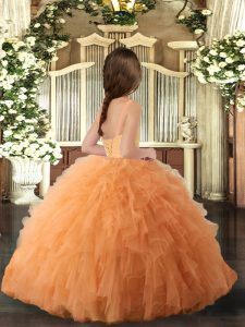Straps Sleeveless Lace Up Little Girl Pageant Gowns Hot Pink Tulle