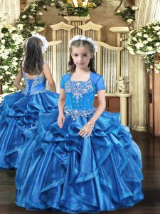 Fashionable Straps Sleeveless Girls Pageant Dresses Floor Length Beading and Ruffles Baby Blue Organza