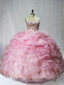 New Arrival Baby Pink Sleeveless Floor Length Beading and Ruffles and Pick Ups Lace Up Sweet 16 Dresses