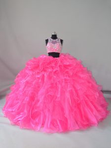 On Sale Hot Pink Sleeveless Organza Court Train Zipper Quince Ball Gowns for Sweet 16 and Quinceanera