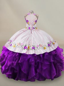 New Style Sleeveless Floor Length Embroidery Lace Up 15 Quinceanera Dress with White And Purple