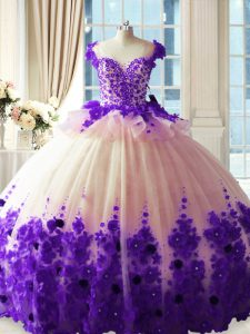 Comfortable White And Purple Tulle Zipper Vestidos de Quinceanera Sleeveless Brush Train Hand Made Flower
