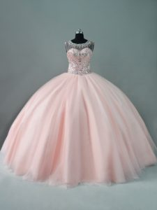 Peach Tulle Zipper Scoop Sleeveless Floor Length Quinceanera Gowns Beading