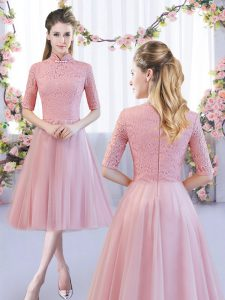 Lace Dama Dress Pink Zipper Half Sleeves Tea Length