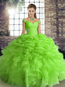 Off The Shoulder Sleeveless Lace Up Vestidos de Quinceanera Organza