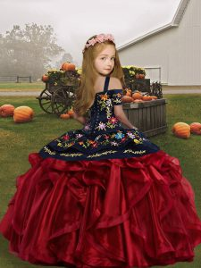 Embroidery and Ruffles Kids Pageant Dress Brown Lace Up Sleeveless Floor Length