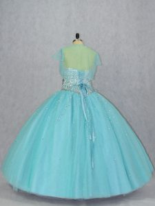 Designer Aqua Blue Lace Up Sweetheart Beading Quinceanera Gowns Tulle Sleeveless