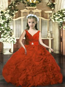 V-neck Sleeveless Backless Girls Pageant Dresses Rust Red Fabric With Rolling Flowers