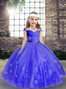 High Quality Blue Straps Neckline Beading and Hand Made Flower Little Girls Pageant Dress Sleeveless Lace Up