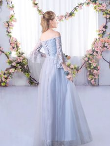 Fabulous Off The Shoulder 3 4 Length Sleeve Lace Up Quinceanera Court Dresses Grey Tulle