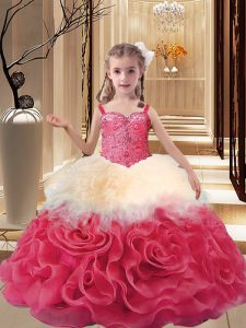 Multi-color Lace Up Straps Beading Pageant Gowns For Girls Fabric With Rolling Flowers Sleeveless